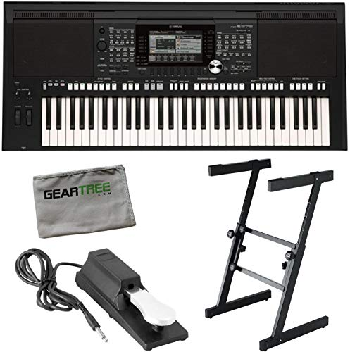 Yamaha PSR-S975 61-Note Arranger Workstation Keyboard w Sustain Pedal and Stand