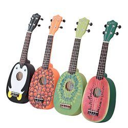 HOT SEAL 21in Cute Pineapple Shape Handmade Carving Dapper Beginners Concerts Ukuleles Uke (Kiwi)