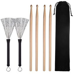 Pangda 2 Pair 5A Drum Sticks Classic Maple Wood Drumsticks Sets and 1 Pair Drum Wire Brushes Ret ...