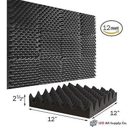 (12 Pk) 2.5″x12″x12″ Soundproofing Foam Acoustic Eggcrate Tiles Studio Foam So ...