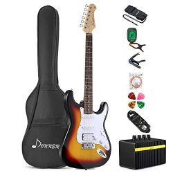 Donner DST-1S Solid Full-Size 39 Inch Electric Guitar Kit Sunburst Package with Amplifier, Bag,  ...