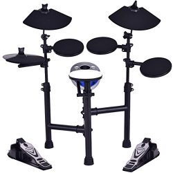Costzon Electronic Drum Set with 7.5″ Snare, 7.5″ Toms, 10″ Cymbal, Drum Stick ...