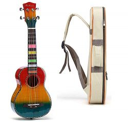 Balnna Soprano Ukulele Maple 21 inch Traditional High-gloss Rainbow Learn to Play,Color String w ...