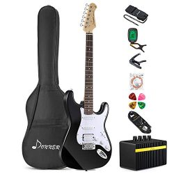 Donner DST-1B Full-Size 39 Inch Electric Guitar Black with Amplifier, Bag, Capo, Strap, String,  ...