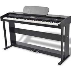 vidaXL 88-Key Portable Digital Piano Keyboard with Stand+Adapter+3-Pedal Board Black