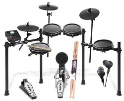 Alesis Nitro Drum Kit, 8-Piece Electronic Kit with Drum Module + On Stage Maple Wood 5B (1 Pair) ...