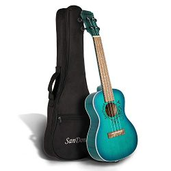 SANDONA Acoustic Electric Concert Ukulele 24 Inch Kit eUKC-131 | Spruce Top Flamed Okoume Back a ...