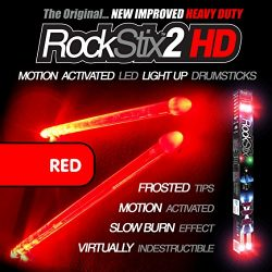 ❤️️ROCKSTIX 2 HD RED, BRIGHT LED LIGHT UP DRUMSTICKS, with fade effect, Set your gig on fire! (R ...