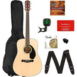 Fender CD-60S Dreadnought Acoustic Guitar – Natural Bundle with Gig Bag, Tuner, Strap, Str ...