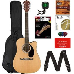 Fender FA-125CE Dreadnought Cutaway Acoustic-Electric Guitar Bundle with Gig Bag, Strap, Strings ...
