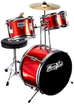 Music Alley DBJK02-MR Kids 3-Piece Beginners Drum Kit-Red, Metalic, inch