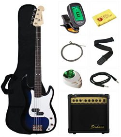 Stedman Beginner Series Bass Guitar Bundle with 15-Watt Amp, Gig Bag, Instrument Cable, Strap, S ...