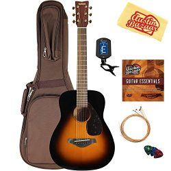 Yamaha JR2 Junior-Size 33-Inch Acoustic Guitar – Tobacco Sunburst Bundle with Gig Bag, Tun ...