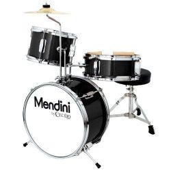 Mendini 3 Drum Set, Metallic Black, 13-inch (MJDS-1-BK)