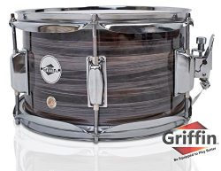 Popcorn Snare Drum by Griffin | Firecracker 10″ x 6″ Poplar Shell with Zebra Wood PV ...