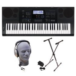 Casio Inc. CTK6200 PPK 61-Key Premium Keyboard Pack with Samson HP30 Closed-Cup Headphones, Powe ...