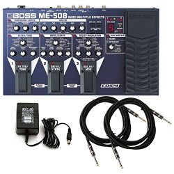 BOSS ME-50B Bass Multi Effects Pedal w/ Power Supply and (2) 10′ Guitar Cables