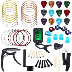 Auihiay 58 PCS Guitar Accessories Kit Including Guitar Strings, Picks, Capo, Thumb Finger Picks, ...
