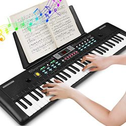 Electronic Keyboard Piano 61 Key, Portable Piano Keyboard with Music Stand, Microphone, Power Su ...