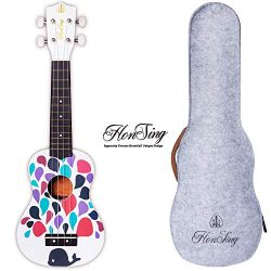 honsing Soprano Ukulele Whale Design Ukulele for Beginner with gig Bag