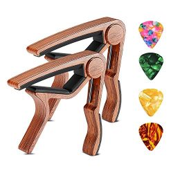Guitar Capo 2 Pack SKL Ukulele Capo Wood Guitar Clamp Trigger Capo with 4 Free Guitar Picks Acce ...