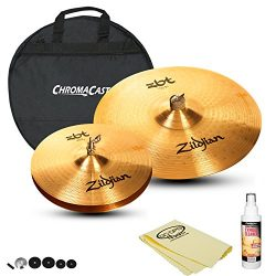 Zildjian ZBT Hats & Ride Set: ZBT 18″ Crash Ride (ZBT18CR), ZBT 13″ HiHats (ZBT ...