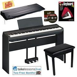 Yamaha P-125 Digital Piano – Black Bundle with Yamaha L-125 Stand, LP-1 Pedal, Furniture B ...