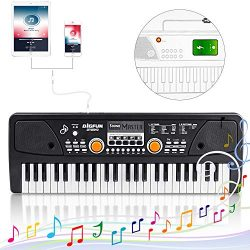 Kids Piano Keyboard 49 Keys- Multi-function Portable Piano Keyboard Electronic Organ with Chargi ...
