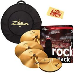 Zildjian A0801R Rock Pack Cymbal Set Bundle with Gig Bag and Austin Bazaar Polishing Cloth