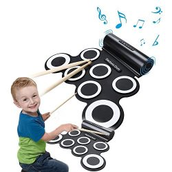 Portable Electronic Roll-Up Drum Kit, Foldable Drum Set Built in Speaker With DrumSticks, Foot P ...