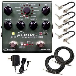 Source Audio SA262 Ventris Dual Reverb Pedal Bundle with 4 MXR Patch Cables, 2 Instrument Cables ...