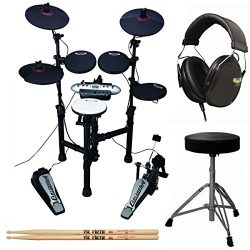 Carlsbro CSD130 9-Piece Compact Electronic Drum Kit + Drum Throne + Drummer Isolation Headphones ...