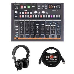 Arturia DrumBrute Impact Analog Drum Machine with 6ft MIDI Cable & HPC-A30 Studio Monitor He ...
