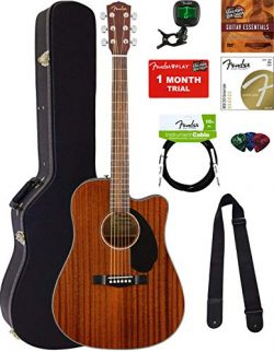 Fender CD-60SCE Dreadnought Acoustic-Electric Guitar – All Mahogany Bundle with Hard Case, ...