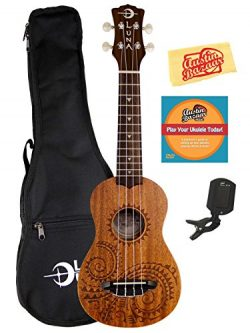 Luna Tattoo Mahogany Soprano Ukulele Bundle with Gig Bag, Tuner, Austin Bazaar Instructional DVD ...
