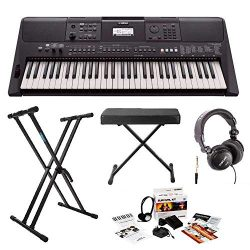 Yamaha PSRE463 61-Key Portable Keyboard with Knox Stand, Bench, Headphones and Survival Kit (inc ...