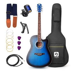 Vangoa – 41inch Full-Size VG-41ECBL Blue Acoustic Electric Cutaway Guitar with Guitar Gig  ...