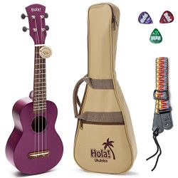 Hola! Music HM-121PP+ Deluxe Mahogany Soprano Ukulele Bundle with Aquila Strings, Padded Gig Bag ...