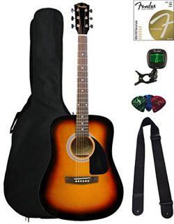 Fender FA-115 Dreadnought Acoustic Guitar – Sunburst Bundle with Gig Bag, Tuner, Strings,  ...