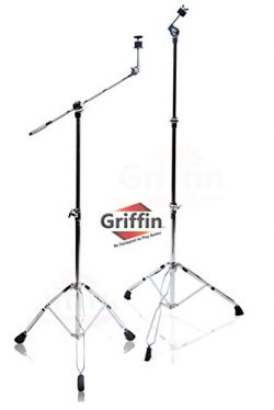 Cymbal Boom Stand & Straight Cymbal Stand Combo (Pack of 2) by Griffin|Percussion Drum Hardw ...