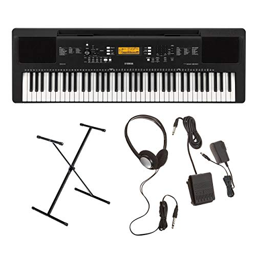 Yamaha PSREW300 76-Key Portable Keyboard with Yamaha Adjustable X-Style Stand and Yamaha SKB2 Su ...