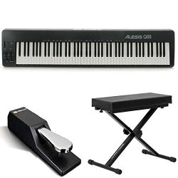 Alesis Q88 | 88-Key USB/MIDI Keyboard Controller with Pitch & Mod Wheels + Bench + Sustain Pedal