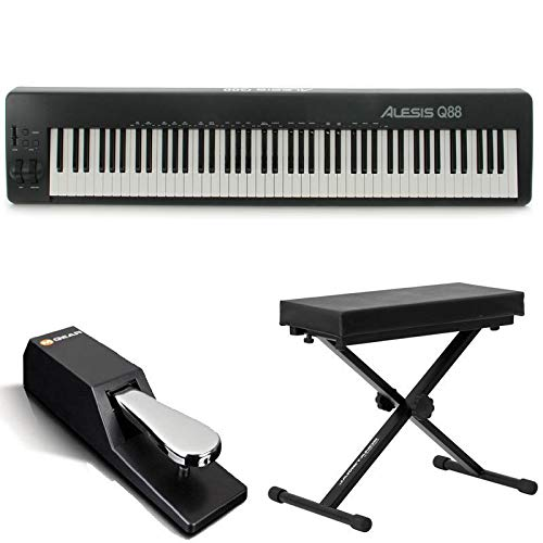 alesis q88 88 key usb midi keyboard controller with pitch mod wheels bench sustain pedal. Black Bedroom Furniture Sets. Home Design Ideas