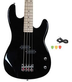 Davison Guitars BASS235 BK GCP Black Full Size Electric Bass Guitar With Cord & Picks