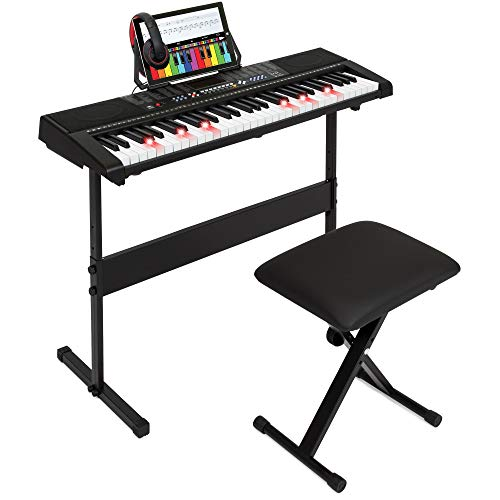 Best Choice Products 61-Key Electronic Keyboard w/Light-Up Keys, 3 Teaching Modes, H-Stand, Stoo ...