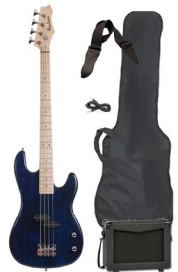 Davison Guitars Full Size Electric Bass Guitar Starter Beginner Pack with Amp Case Strap Package ...