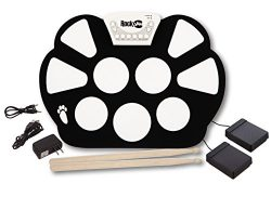 RockJam Portable Electronic Roll up Drum Kit with, Power Supply, Foot Pedals, Headphone Jack, an ...