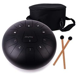 ShengTang Steel Tongue Drum 12 Inch 11 Notes Black with Padded Travel Bag and Mallets,Tank Drum  ...