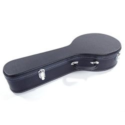 Hardshell A-Style Microgroove Pattern Leather Wood Mandolin Case Black