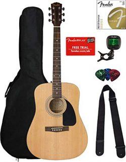Fender FA-100 Dreadnought Acoustic Guitar – Natural Satin Bundle with Gig Bag, Tuner, Stri ...